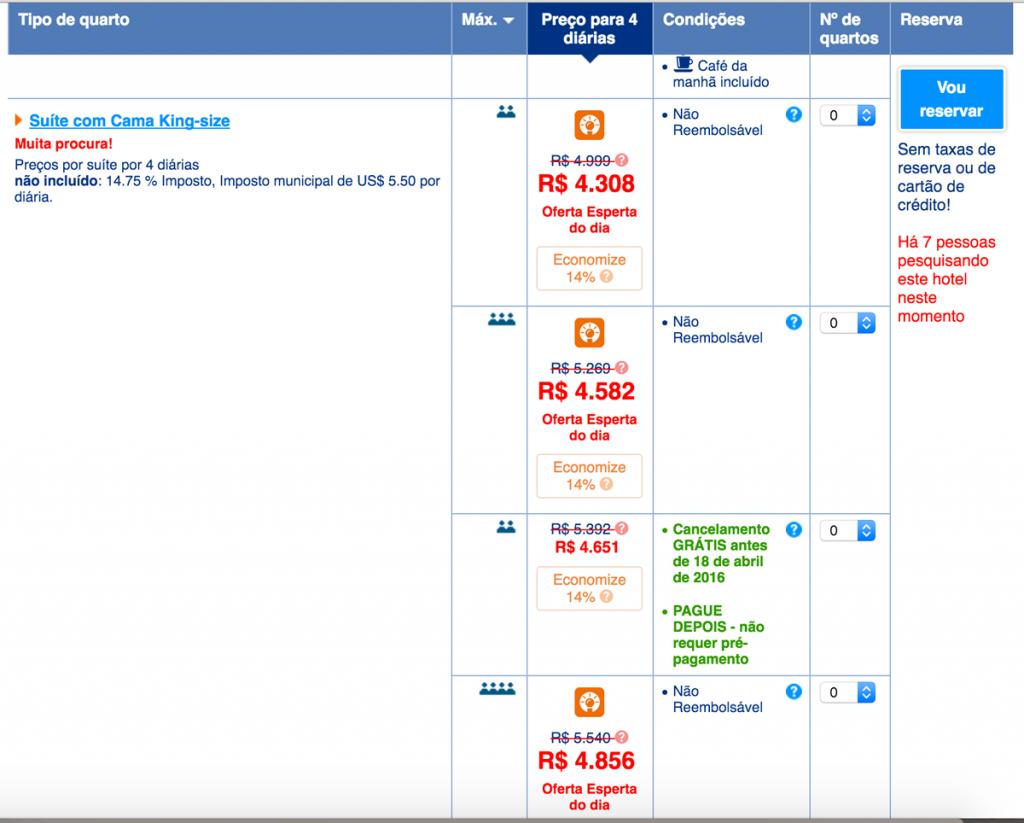 Pesquisa Booking.com tarifa não reembolsável