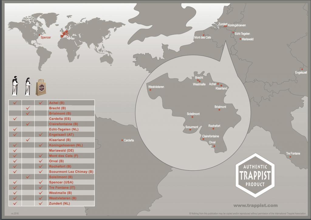 Mosteiros Trapistas que fabricam cerveja Fonte: Página da ITA (http://www.trappist.be)